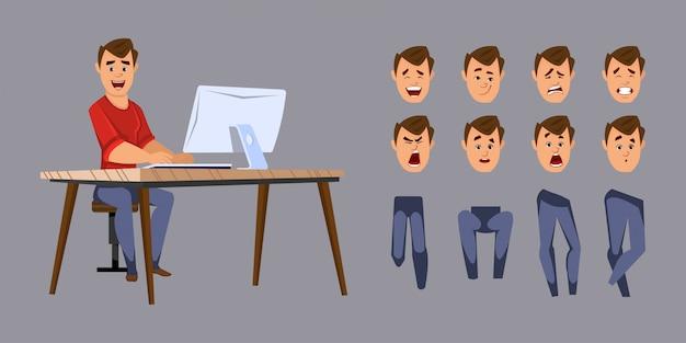 Jonge kantoor werknemer karakter voor animatie of beweging met verschillende gezichtsemoties en handen.