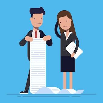 Jonge kantoormedewerkers met een grote takenlijst. het concept van onmogelijk werk. cartoon platte illustation geïsoleerd op blauwe achtergrond.