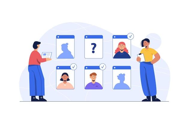Jonge karakters die een onlinevergadering hebben