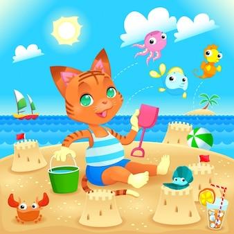 Jonge kat maakt kastelen op het strand funny cartoon en vector illustratie je kunt spelen u het verschil tussen andere gelijkaardige beelden op mijn portefeuille