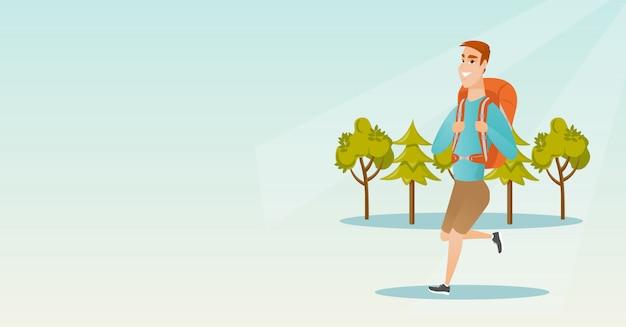 Jonge kaukasische blanke man met een rugzak wandelen.