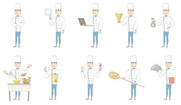 Jonge kaukasische chef-kok tekenset