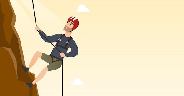 Jonge kaukasische mens die een berg met kabel beklimt
