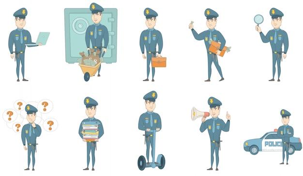 Jonge kaukasische politieagent vector illustraties set