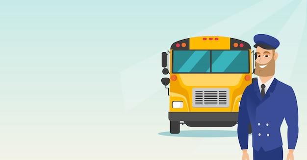 Jonge kaukasische schoolbuschauffeur.