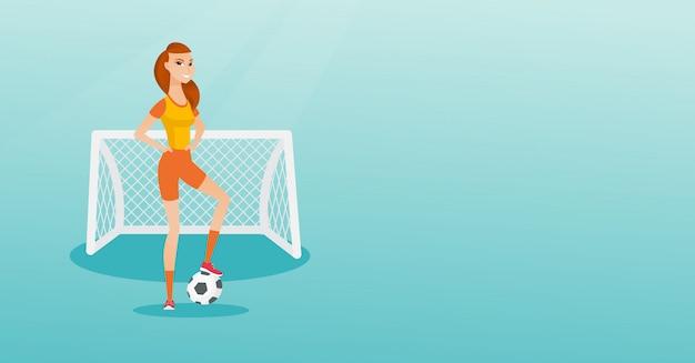 Jonge kaukasische voetbalster met een bal.