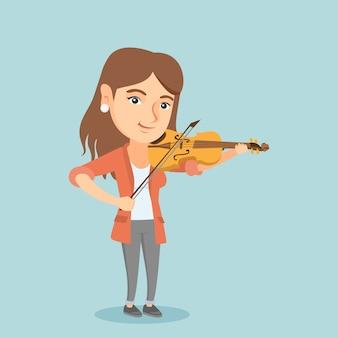 Jonge kaukasische vrouw die de viool speelt.