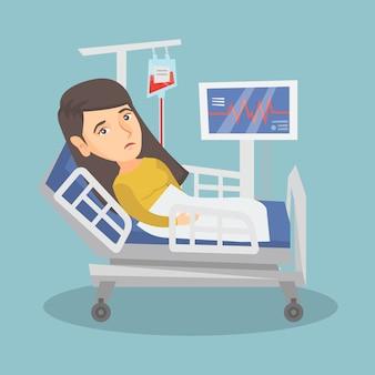 Jonge kaukasische vrouw die in het ziekenhuisbed ligt.