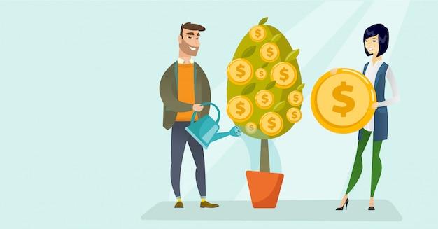 Jonge kaukasische witte mens die financiële boom water geven.