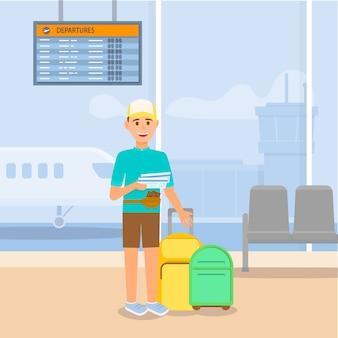 Jonge kerel die door vliegtuig reist. luchthaventerminal.