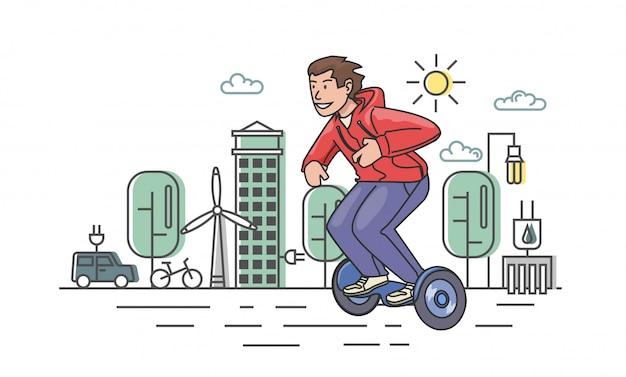 Jonge kerel in het rode hoody berijden hoverboard op eco-stad.