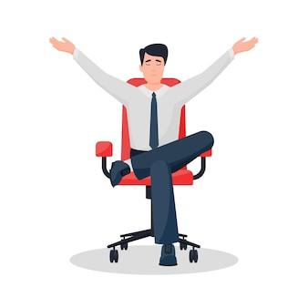 Jonge kerel ontspannen zitten mediteert in een bureaustoel handen omhoog en leggend zijn been