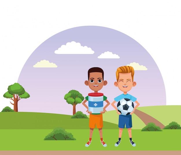 Jonge kinderen avatar kartonnen personage