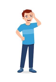 Jonge knappe man voelt hoofdpijn en pijn