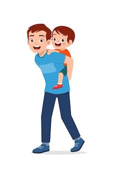 Jonge knappe vader draagt schattige jongen