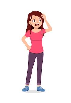 Jonge knappe vrouw voelt hoofdpijn en pijn