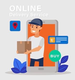 Jonge koeriersmens van het smartphonescherm die kartondoos verzenden die op achtergrond, het online concept van de leveringsdienst wordt geïsoleerd. illustratie plat ontwerp. verzendservice.