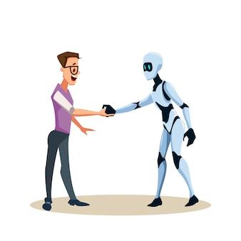Jonge lachende man in glazen en robot schudden hand