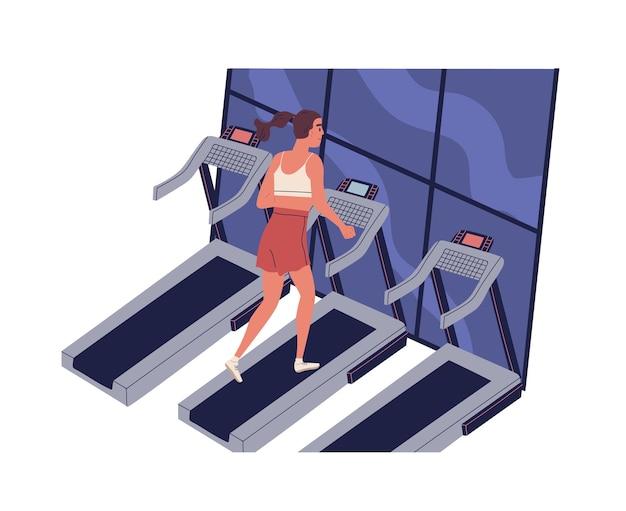 Jonge lachende vrouw draait op loopband in het fitnesscentrum. leuk grappig meisje bij dagelijkse ochtend jogging training