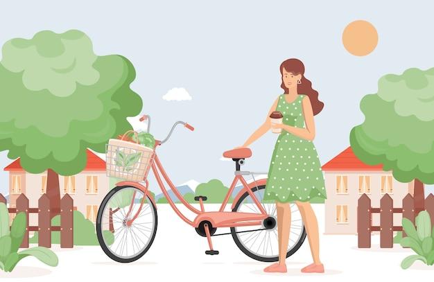 Jonge lachende vrouw met een kopje koffie staande in de buurt van fiets in land dorp vlakke afbeelding.