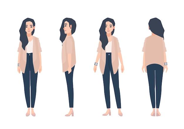 Jonge lachende vrouw met losse lange brunette haar gekleed in casual kleding geïsoleerd op een witte achtergrond. leuk meisje dat jeans en vest draagt. voor-, zij-, achteraanzichten. cartoon vectorillustratie