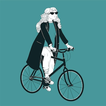 Jonge langharige vrouw die zonnebril, jas en sneakers draagt die fiets berijden. meisje gekleed in modieuze kleding op fiets getekend met zwarte contourlijnen op groene achtergrond.