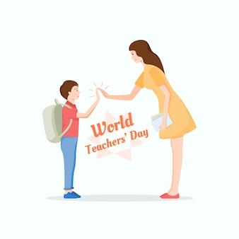 Jonge leraar die hallo vijf geeft aan een leuke student. werelddag voor leerkracht concept.
