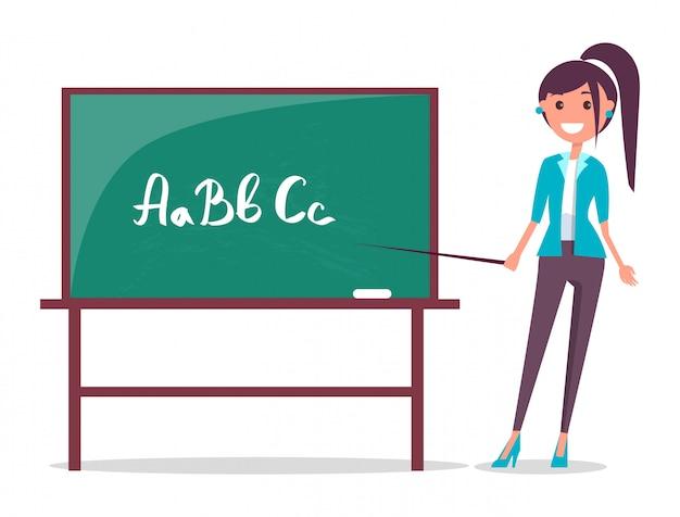 Jonge leraar en schoolbord