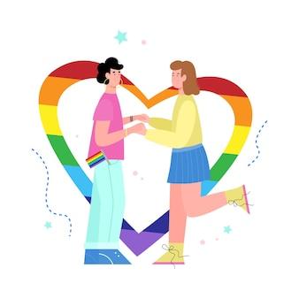 Jonge lesbische vrouwen houden elkaars hand vast naast een regenbooghart een vectorillustratie
