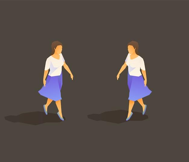 Jonge lopende dame met rok Premium Vector