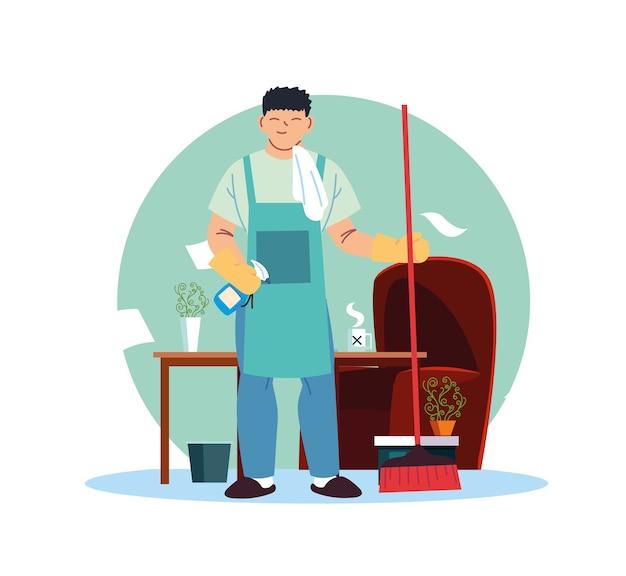 Jonge man aan het werk in de schoonmaak service thuis kantoor desing