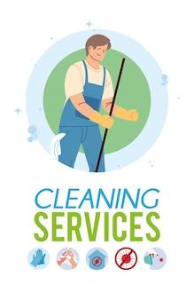 Jonge man aan het werk in de schoonmaakdienst covid 19 illustratie desing
