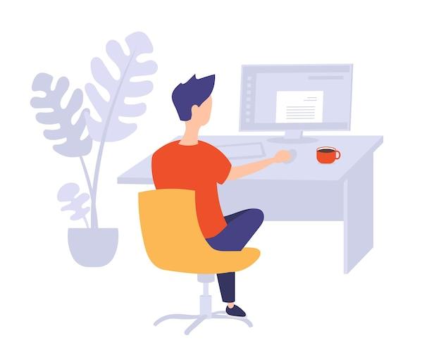 Jonge man aan het werk op de computer op kantoor. vector illustratie.
