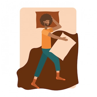 Jonge man afro in bed avatar karakter