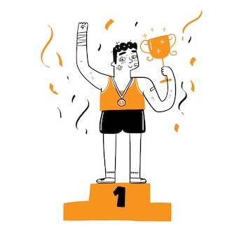 Jonge man atleten die opstaan voor trofeeën op het podium, als winnaar. concept van zakelijk succes, vector illustratie cartoon doodles stijl