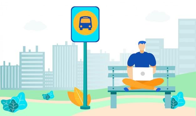 Jonge man bij bushalte vlakke afbeelding