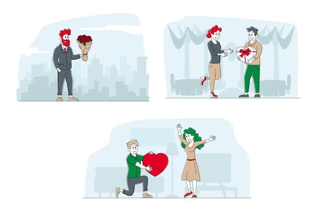 Jonge man cadeau en boeket te geven aan gelukkig verrast vrouw op valentijnsdag