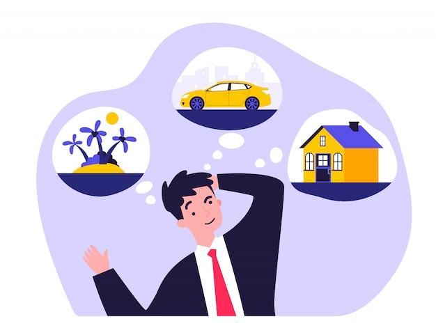 Jonge man denken over nieuwe huis, auto en reis
