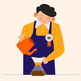 Jonge man die koffie maakt