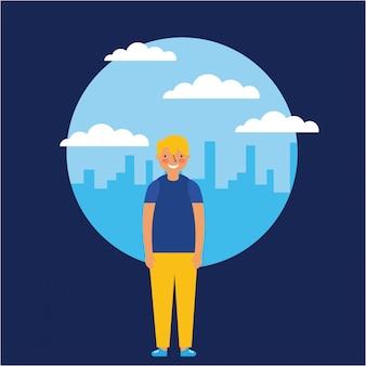 Jonge man die lacht over skyline, vlakke stijl