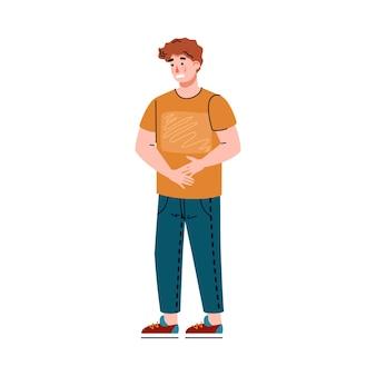 Jonge man die lijdt aan buikpijn een vector geïsoleerde illustratie