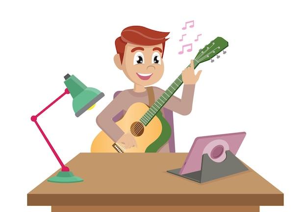 Jonge man die online muzieklessen neemt bij homevector eps10