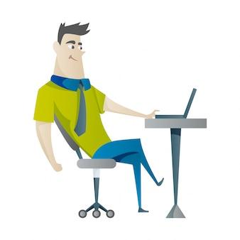 Jonge man die op laptop werkt