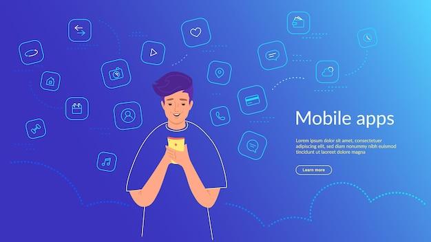 Jonge man die smartphone gebruikt voor chatten, sociale medianetwerken, bankieren en slimme mobiele apps. verlooplijn vectorillustratie van gebruikersinterface, gebruikerservaring en gebruik van mobiele apps door mensen