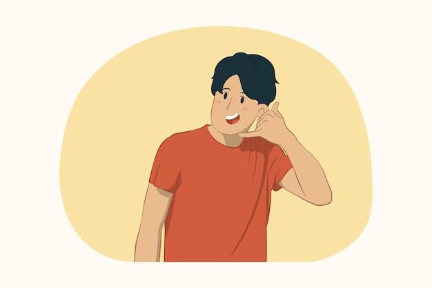 Jonge man doet het concept van het telefoongebaar