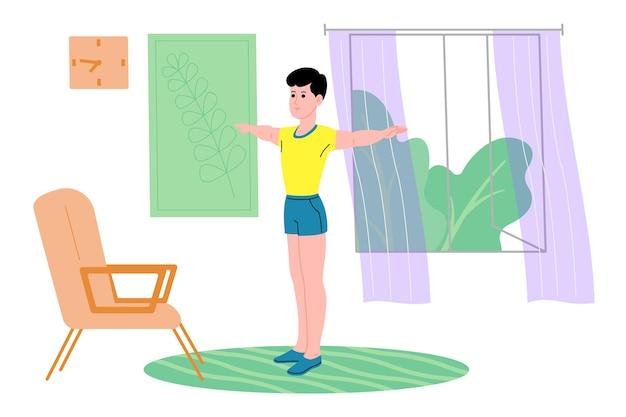 Jonge man doet sport, fysieke oefeningen, thuistraining en fitness thuis tijdens quarantaine en leidt een gezonde levensstijl. platte vectorillustratie. mensen, mannen en vrouwen die het huis als sportschool gebruiken.