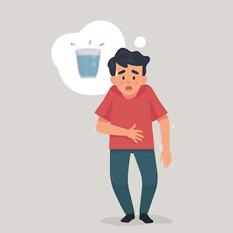 Jonge man dorstig en denken over water