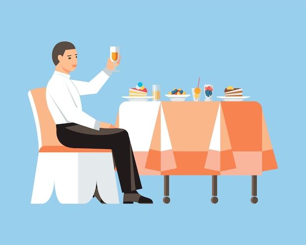 Jonge man drinken wijn platte vectorillustratie