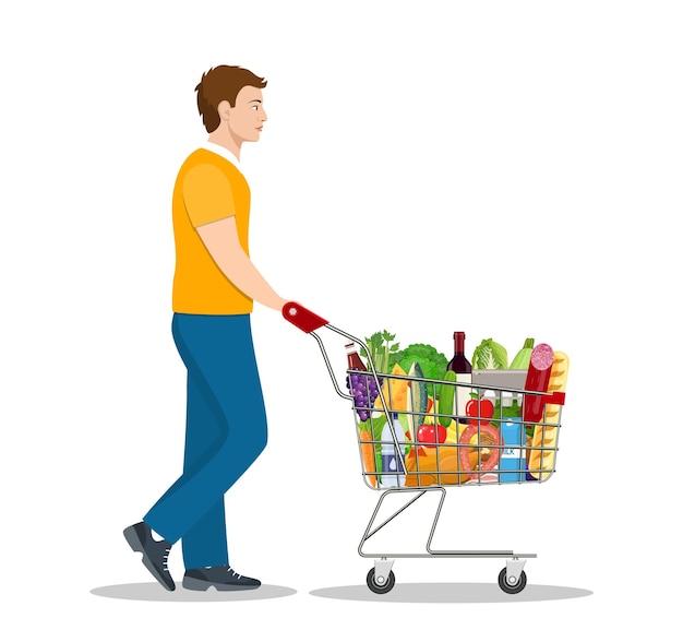 Jonge man duwen supermarkt