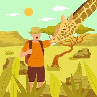 Jonge man een giraffe aaien